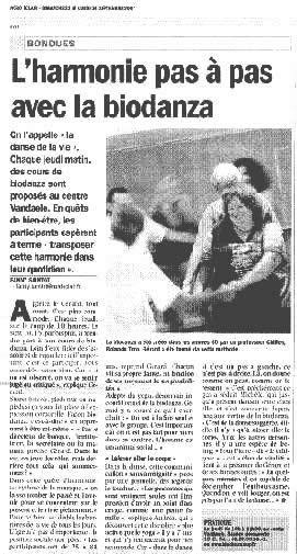 L'harmonie pas à pas avec la BIODANZA (Nord Eclair/Bondues du 23/09/2007)